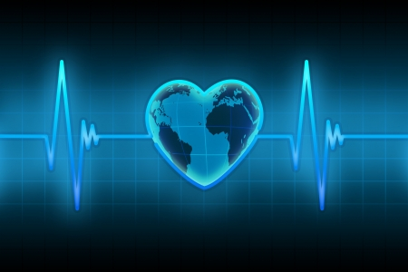 heartbeat monitor: blue line of the pulse with the planet in the form of heart Stock Photo