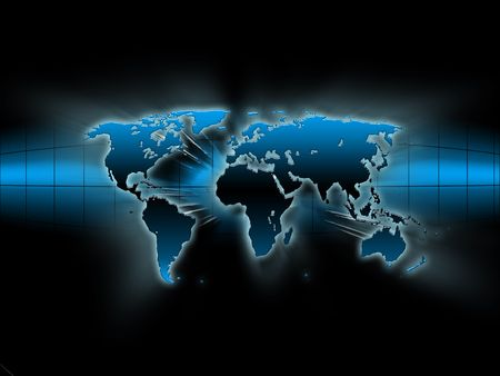 blue world map: abstract blue map of the world on a black background