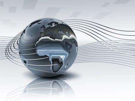 illustrierte:  3D Metall Planeten mit glatte Linien - sch�ne abstrakte Hintergrund Lizenzfreie Bilder