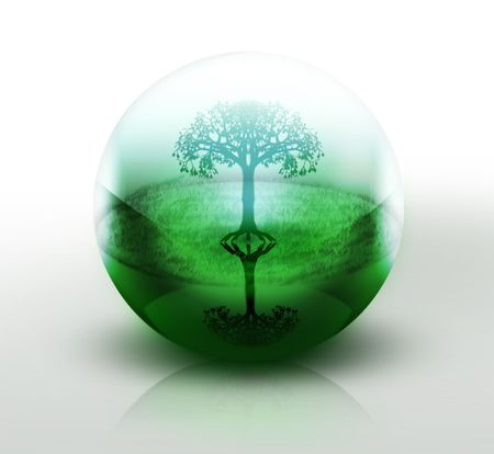 lucidity: tree in a transparent ball - abstract design or art element for your projects
