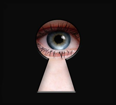 Peeper Eye to the Keyhole isolated on black background Standard-Bild