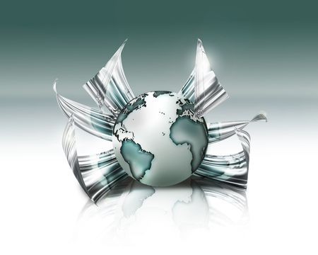 world in chrome flower - fantastic abstract design or art element for your projects photo