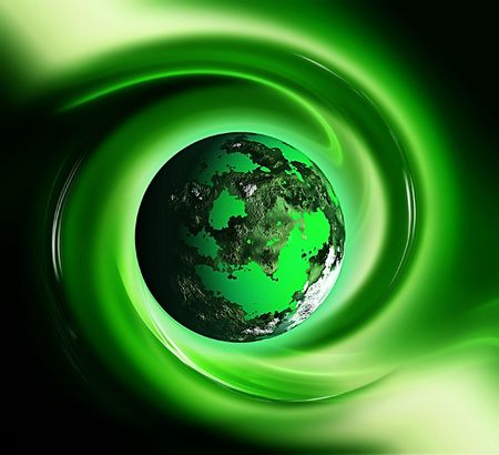 planet: green planet in a wave - beautiful abstract background