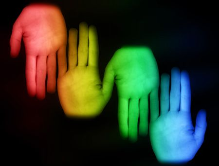 colorful hand on a dark background Stock Photo - 6905101