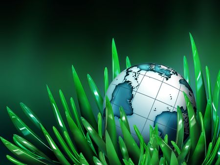 world in the grass - computer generated  for your projects Stock Photo - 6905099