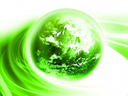 abstract background with bright green planet photo
