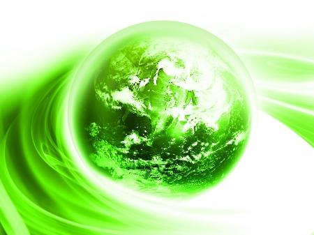 planeta verde: Fondo abstracto con planeta verde brillante