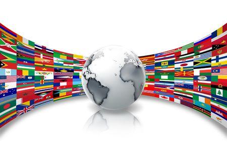 paz mundial: planeta abstracta contra un fondo de las banderas del mundo