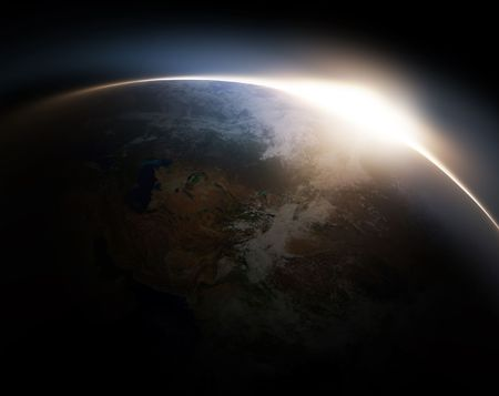 glowing earth: Sunrise from space - computer generated  for your projects Stock Photo