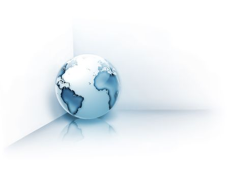 planet in the corner - computer generated  for your projects photo