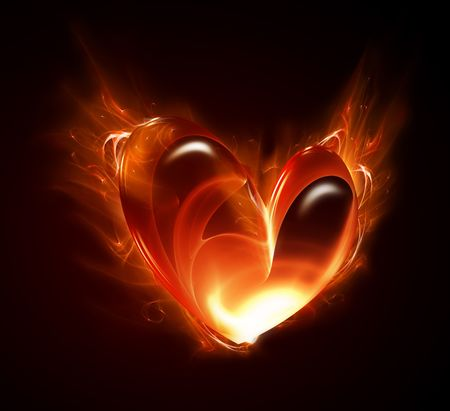 burning heart: heart of the fire on a dark background