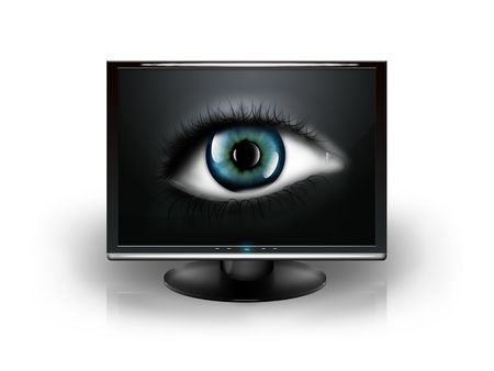 eye in the monitor isolated on white background photo