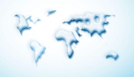 waterdrop: water-drop world map - computer generated Stock Photo