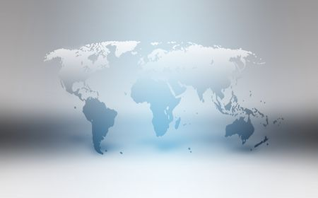 mobile communications: abstract world map - computer generated Stock Photo