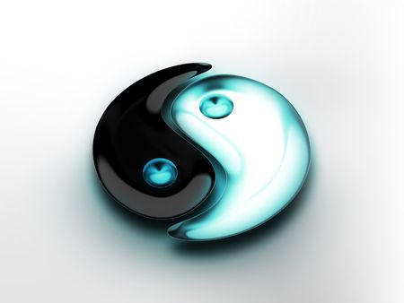 taoism: symbol of yin yang - computer generated  for your projects Stock Photo