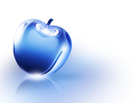 crystalline blue apple on a white background Stock Photo