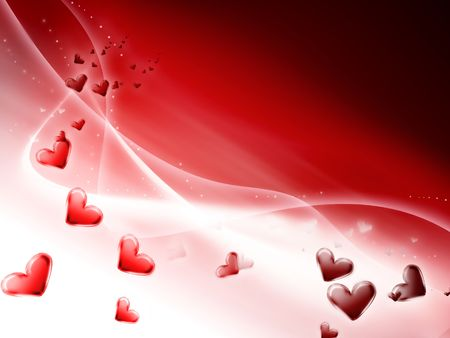romantic red striped background with hearts