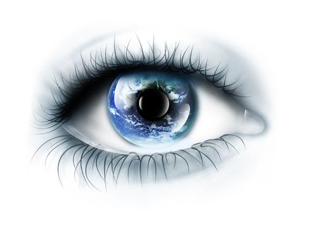 eye closeup: planet is in the eye isolated on a white background Stock Photo