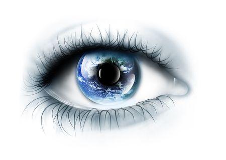 globo ocular: planeta est� en el ojo aislado en un fondo blanco  Foto de archivo
