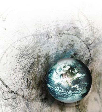 abstract gray grunge background with turquoise world