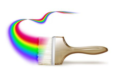 paintbrush drawing a rainbow on a white background photo