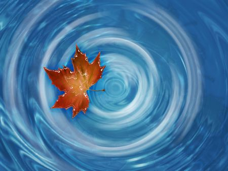 red maple leaf floating in whirlpool river photo