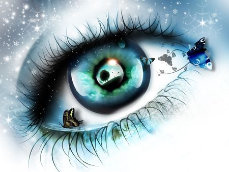 Eye with reflection of the summer landscape and butterflies on a background of falling snow photo