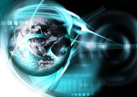 digitally concepts: abstract technology background with an blue planet Stock Photo