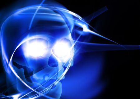 abstract background with glowing skull photo