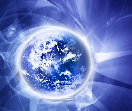 elegant blue background with  abstract world photo