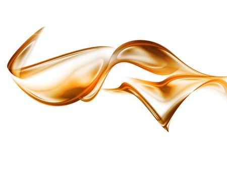 キャラメル: 白い背景に分離した抽象的な金の波 写真素材