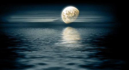 horizon reflection: moon over the sea - night landscape