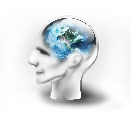 Earth in the head on a white background Stock Photo - 8626451