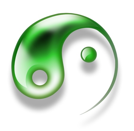 green yin yang symbol isolated on a white background photo