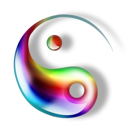 yin yang symbol: green yin yang symbol isolated on a white background Stock Photo