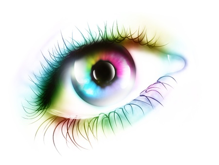 purple iris: rainbow eye - computer generated  for your projects Stock Photo