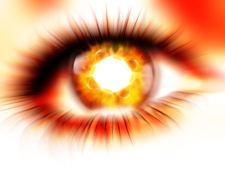 abstract red burning eyes photo