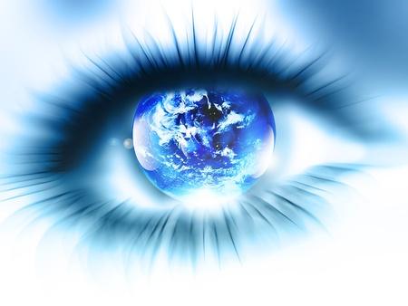 globo ocular: planeta est� en el ojo borroso abstracto