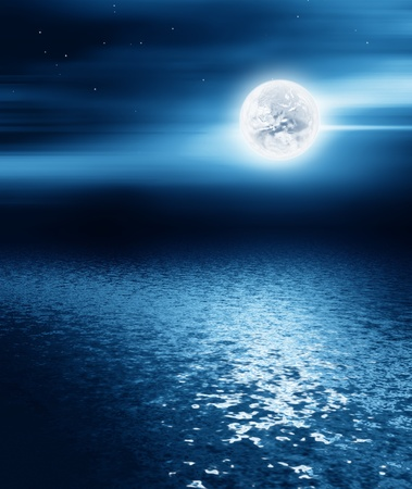 over the moon: moon over the sea - night landscape