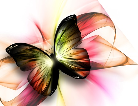 life change: elegant beautiful butterfly on a light background