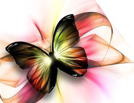 mariposas volando: elegante mariposa bella sobre un fondo claro