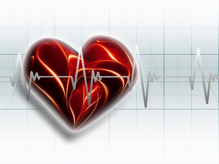 red heart on an electrocardiogram graph - a symbol of health Stock Photo - 8784051