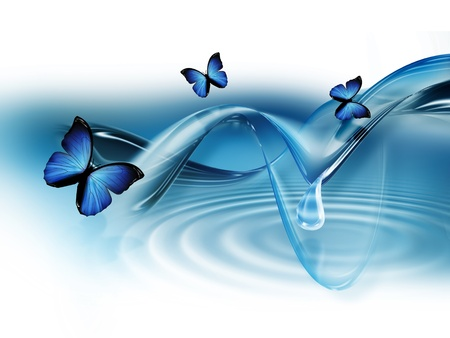 elegant blue abstract background with butterflies photo