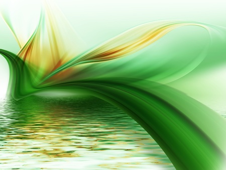 abstract paintings: abstract flower above the water