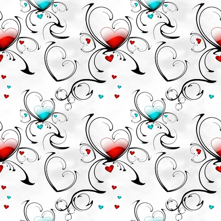 seamless background with abstract patterns and hearts photo