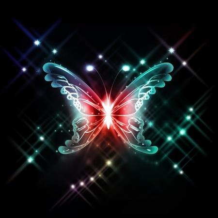 papillon rougeoyante abstraite sur un fond sombre