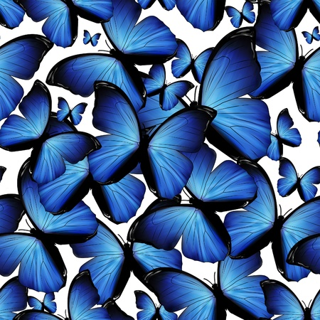 seamless background with blue butterflies photo