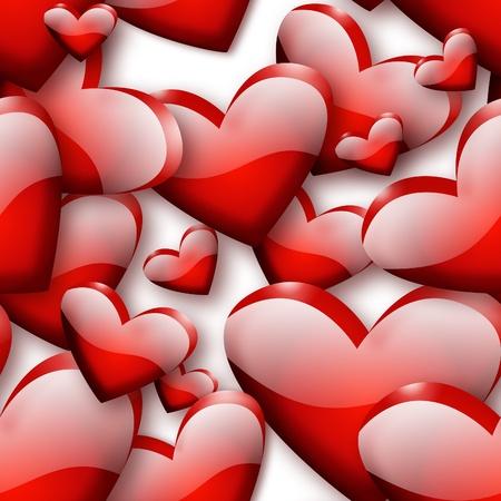 patrón de corazones rojo transparente - generada por su diseño por ordenador