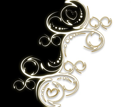 elegant ornament on a black and white background Stock Photo - 9028952