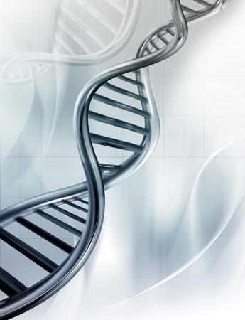 genetica: Filamenti di DNA su sfondo medico
